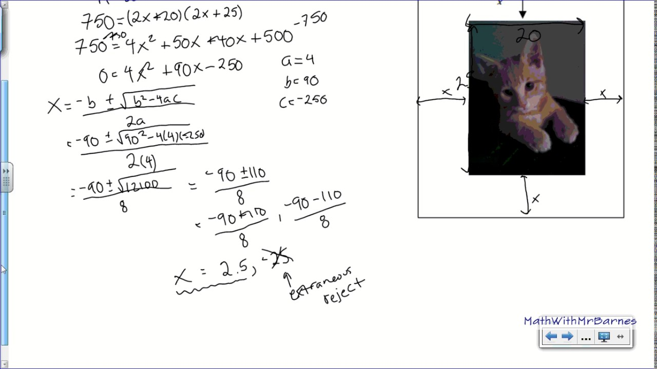 Quadratic Area Word Problems Picture Frame Youtube