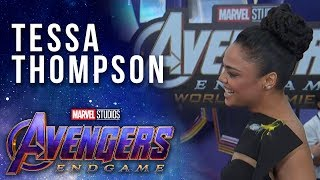 Tessa Thompson on suriving the snap at the Avengers: Endgame Premiere