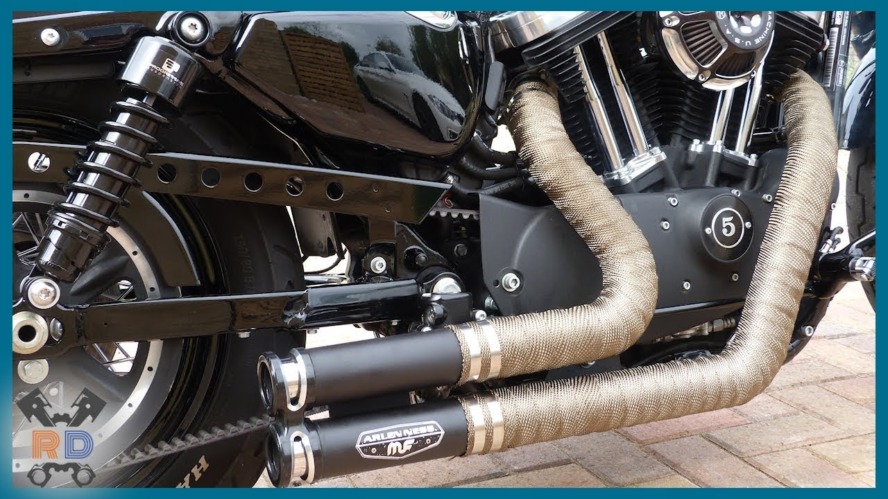 HOW TO: Motorbike Exhaust Wrap | Harley Sportster 48 - YouTube