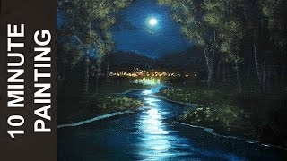 Painting a Moonlit Stream with Acrylics in 10 Minutes!