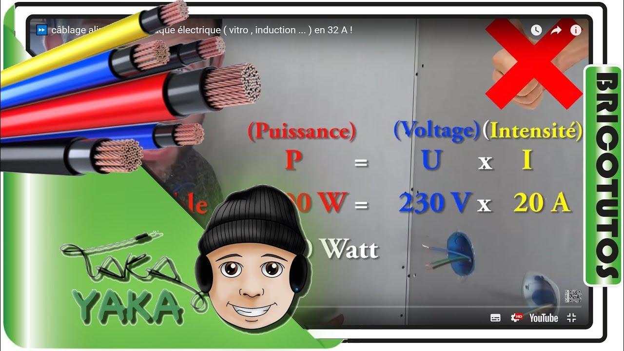 Cablage Alimentation Plaque Electrique Vitro Induction En 32 A Youtube