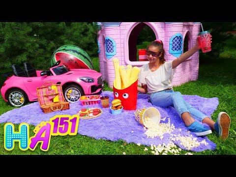 Hayal Ailesi. Polen Adrian Için Piknik Yapıyor. Eğlenceli Video