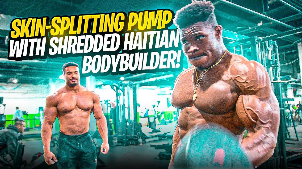 SKIN-SPLITTING PUMP WITH SHREDDED HAITIAN BODYBUILDER!