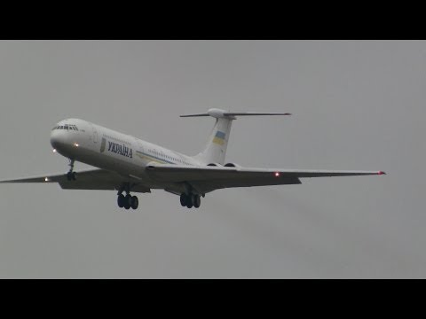 Ukrainian Government Ilyushin-62 landing runway 14 at ZRH ( beautiful sound )