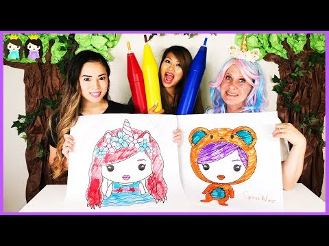 GIANT 3 Marker Challenge with Princess ToysReview vs Sparkles the Unicorn