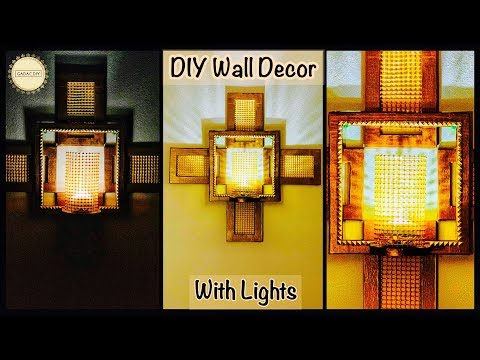 Very Unique Wall Decor With Lights| gadac diy| diy room decor| craft ideas| wall decoration ideas