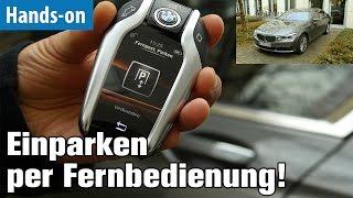Einparken per Fernbedienung beim BMW 740i ausprobiert | Parkassistent Plus | 4K