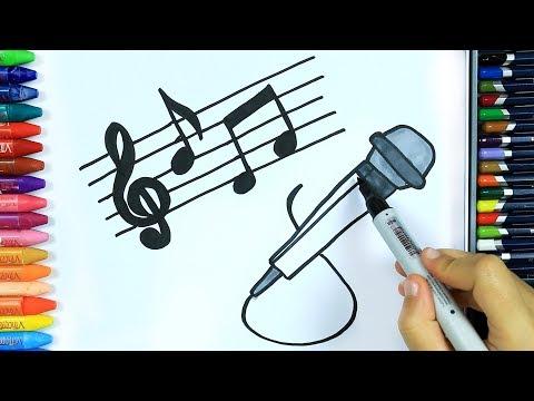 Wie Zeichnet Man Mikrofon 🎶| Ausmalen Kinder | Kindervideos | Malen Für Kinder | Zeichnen Und Färben