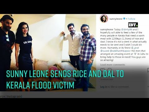 Sunny Leone donates rice and dal to Kerala flood victims