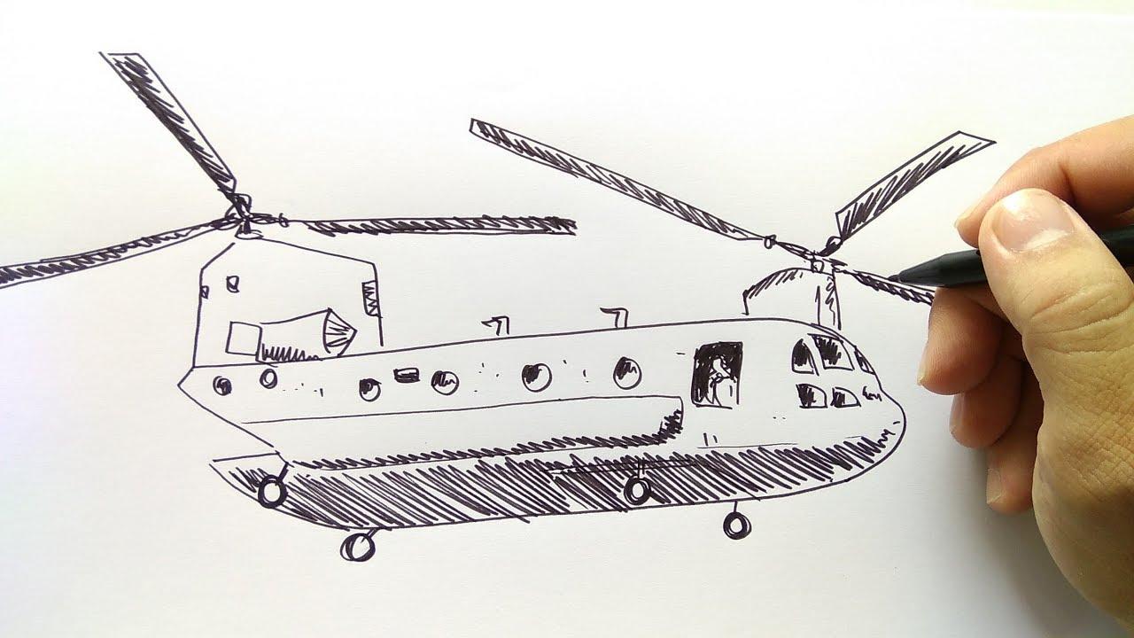 Cara Menggambar Helikopter Militer Youtube