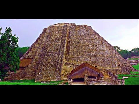 Climbing The Mayapan Pyramid of Mayas, Yucatan, Mexico