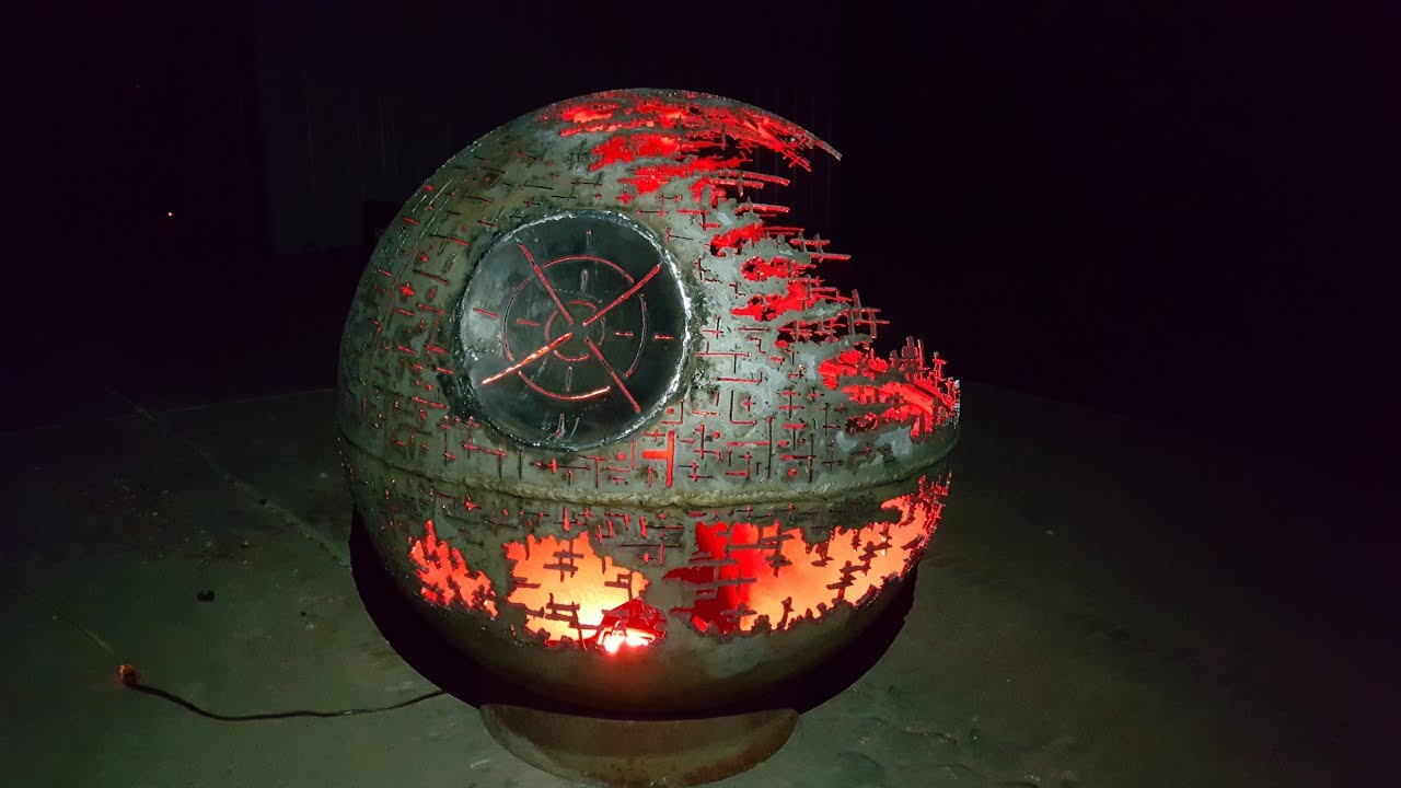 Death Star Fire Pit - Custom Made - Hand Cut - Light ...
