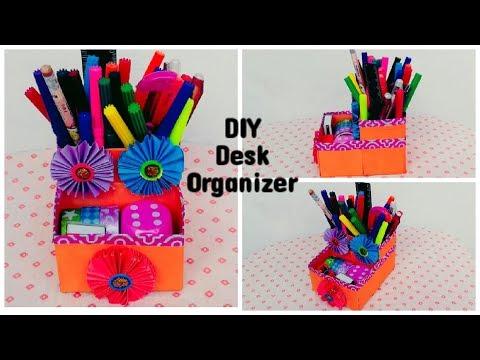 DIY Desk Organizer || How To Make Desk organizer With Waste Box || Recycled Crafts Ideas.