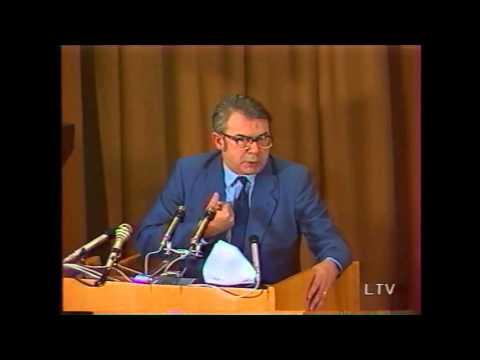 Juozas Nekrošius kalba Spaudos rūmai Gorbačiovo vizitas 1990