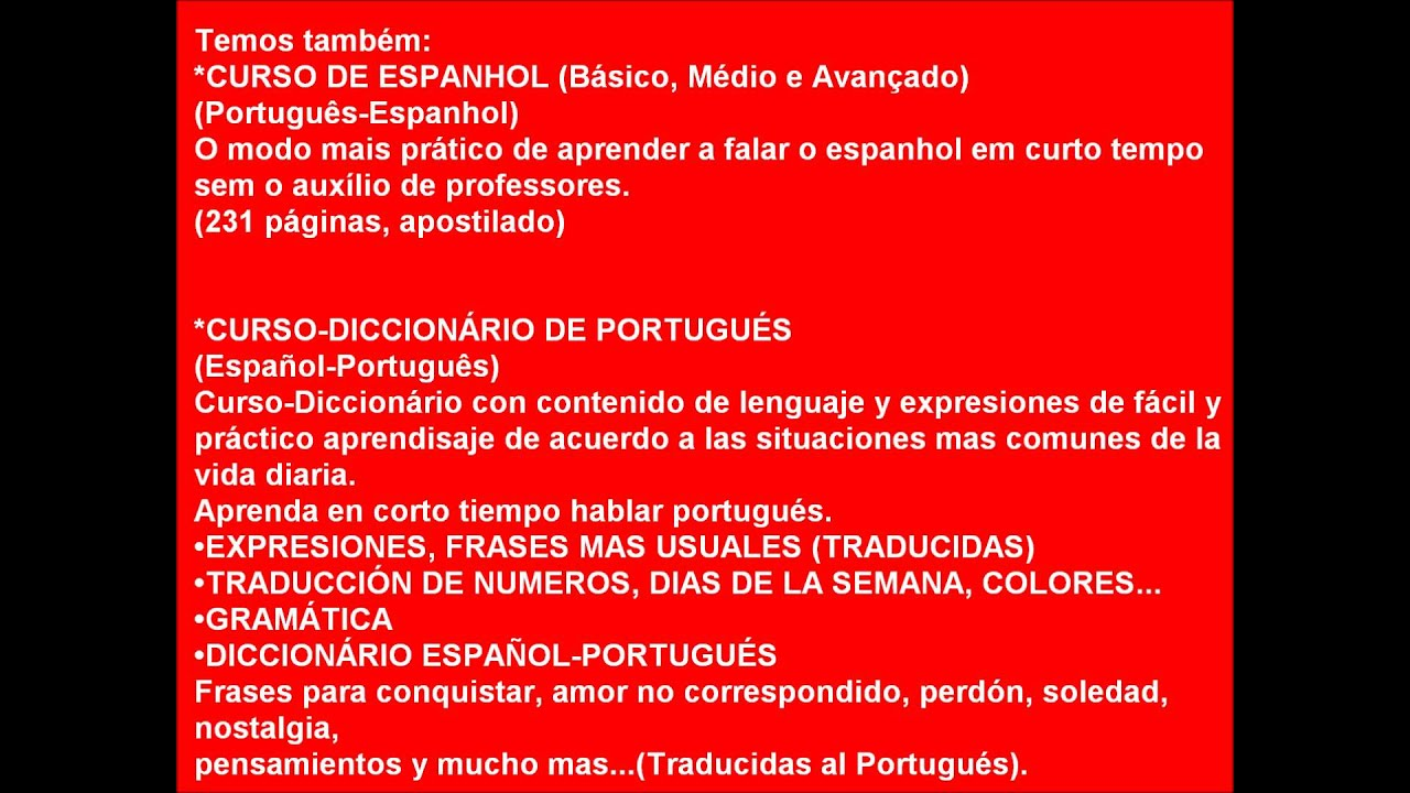 TRADUÇÃO DE PORTUGUÊS-ESPANHOL