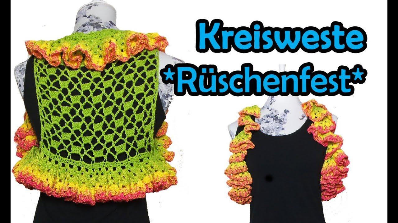 Kreisweste Rüschenfest Häkeln Bobbel Diy Häkelanleitung Youtube