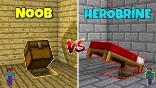 NOOB VS HEROBRİNE (Gizli ev yapmak) - Minecraft