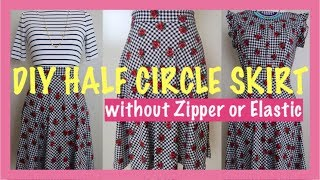 Download HOWTO DIY HALF CIRCLE SKIRT WITH NO ZIPPER OR ELASTIC Sewing for Beginners Mp3 and Videos