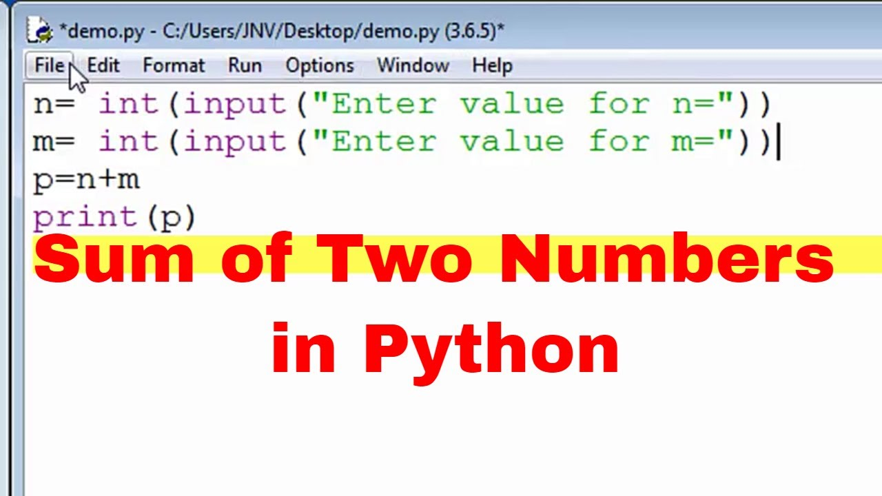 Sum of two numbers using Python - Python Programming