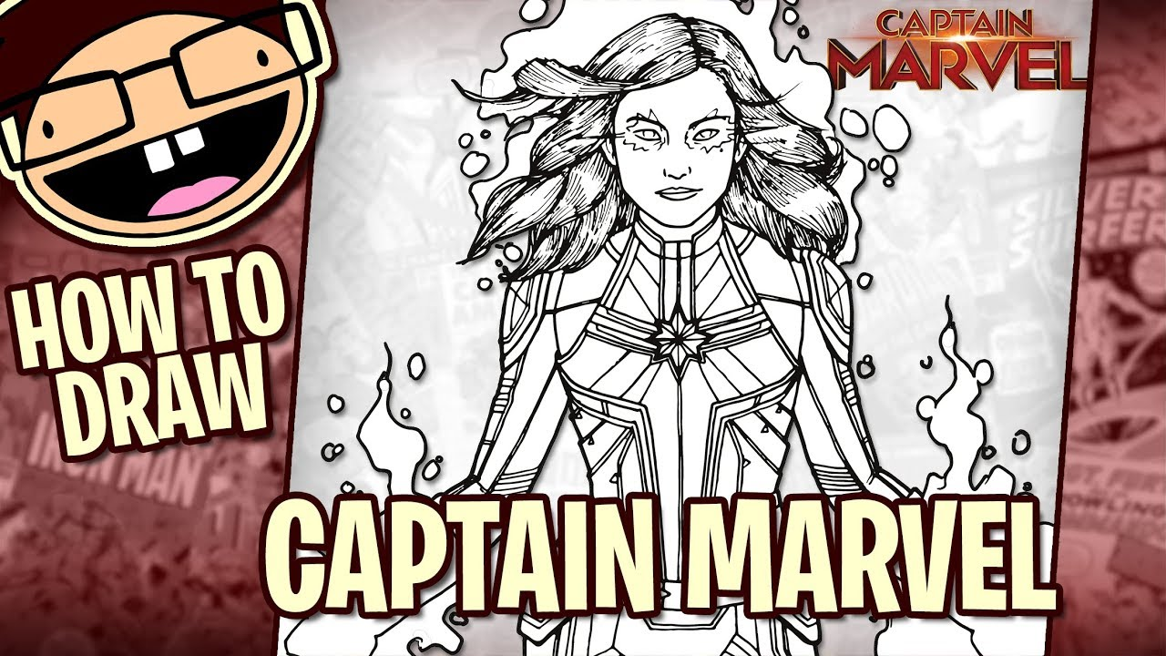 How To Draw Captain Marvel 2019 Movie Narrated Easy Step By Step