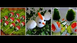 3 DELICIOUS LIFE HACKS EGGS GARNISH AND CUCUMBER & TOMATO DESIGN - VEGETABLE CARVING - ART IN EGGS