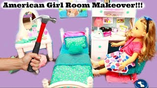 American Girl Room Makeover.american girl vanity table, american girl dest set