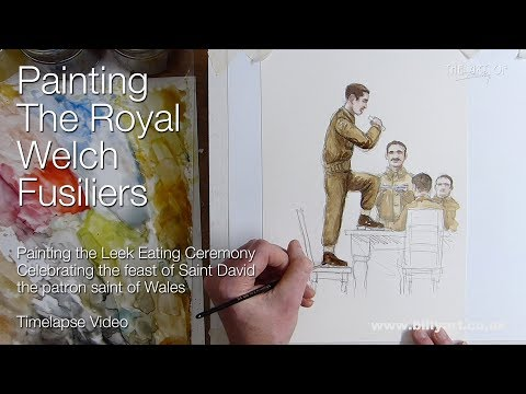 Painting the Royal Welch Fusiliers Saint David's Day Leek Eating Ceremony