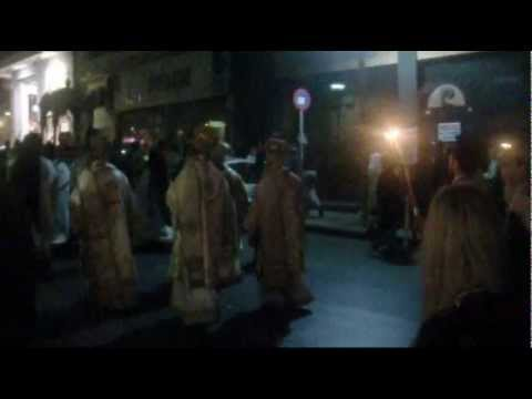 Catholic Procession at Night - Crete, Greece (Royalty Free Stock Footage)