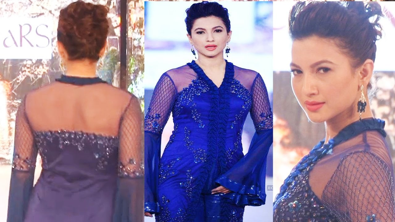 c34cb855dc4c2 Sexy Actress Gauhar Khan in Transparent Blue Dress on Ramp. Bollywood  Universe HD