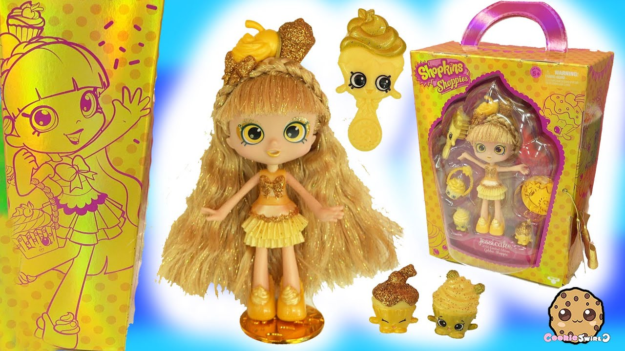 Limited edition shopkins shoppies gold jessicake sdcc 2016 golden doll