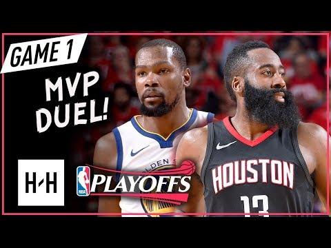 Kevin Durant vs James Harden Game 1 WCF Duel Highlights (2018 Playoffs) Rockets vs Warriors - CRAZY
