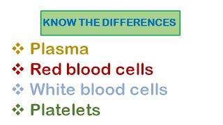 Know The Differences| 11. Components of The Blood