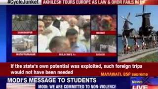 Akhilesh tours Europe as law and order fails in Uttar Pradesh