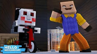 BILLY THE PUPPET FROM SAW IS LOCKED UP EVEN THE HELLO NEIGHBOR IS SCARED - Minecraft Modded Gameplay