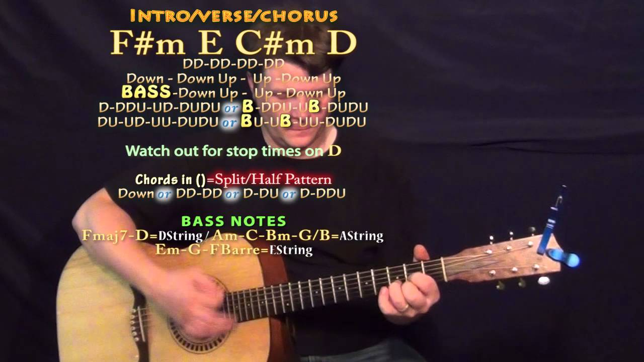 I Hate U I Love U Gnash Guitar Lesson Chord Chart Fm E Cm D