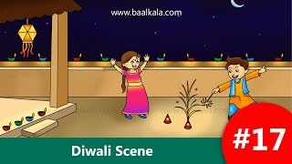 How to Draw: Diwali Scene - Easy step by step Drawing for kids [HD]