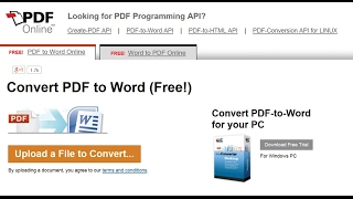 How To Convert pdf to word without software using PDF Online