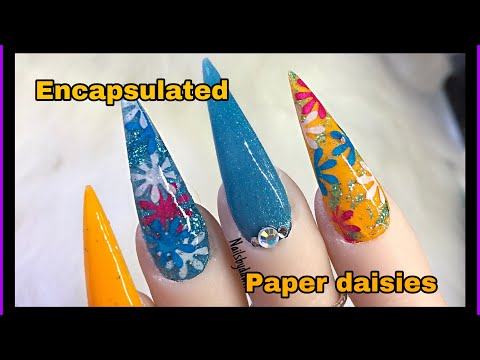 Encapsulated PAPER flowers - Acrylic Nails