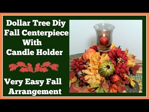 Dollar Tree Diy Fall 🍂 Centerpiece with Candle Holder 🍂 Really Easy diy Project