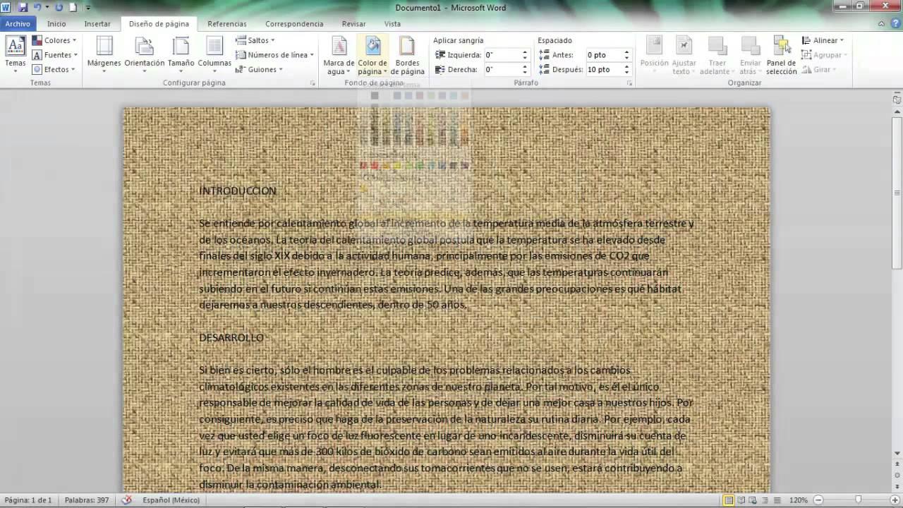 Cómo Aplicar Un Fondo De Página En Microsoft Word 2010