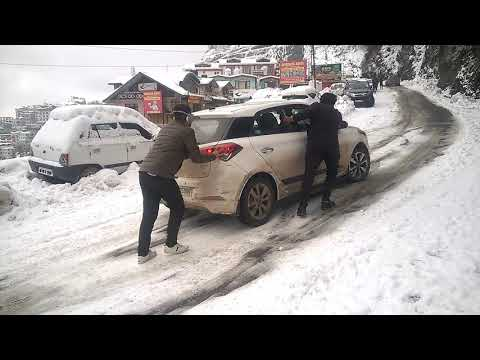 Car Sliding on Snow in Shimla