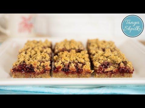 Пирог с Малиновым Вареньем и Овсяными Хлопьями | Raspberry Oatmeal Bars | Tanya Shpilko