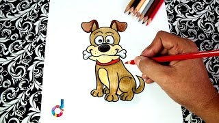 Cómo dibujar un Perro con su Hueso (paso a paso) | How to draw a Dog with its bone