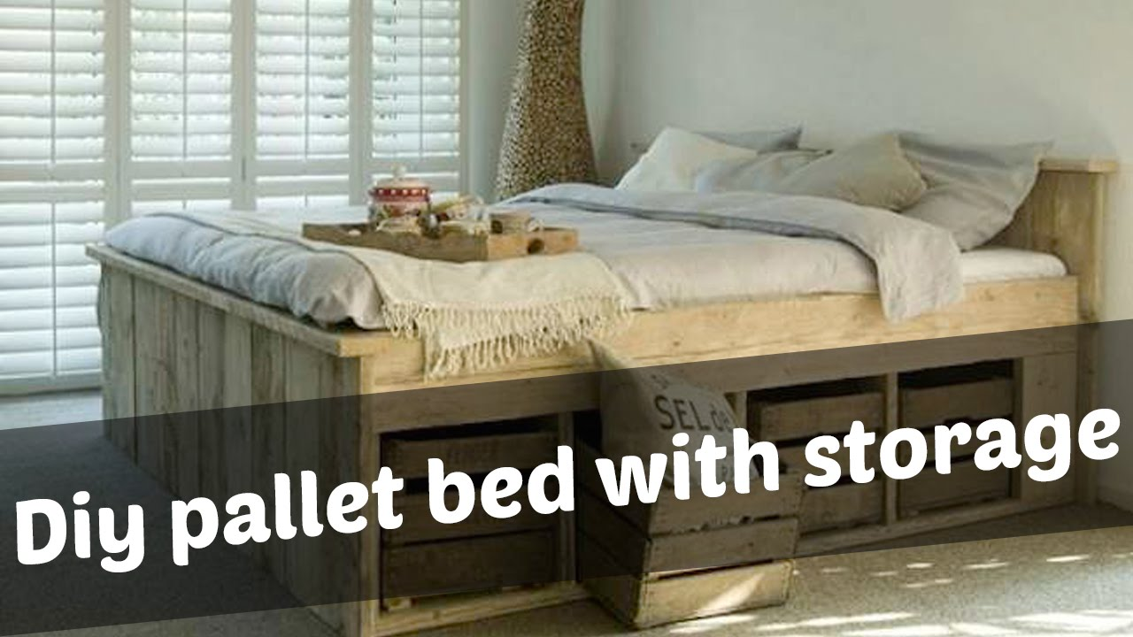 Diy pallet bed with storage ideas youtube How to buy a bed