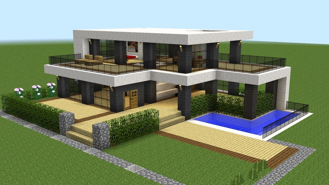 Minecraft how to build a modern house 20 youtube for Minecraft modern house 9minecraft