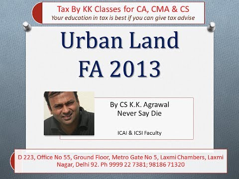 CA IPCC lecture...tax treatment of Agricultural land situated in urban area.