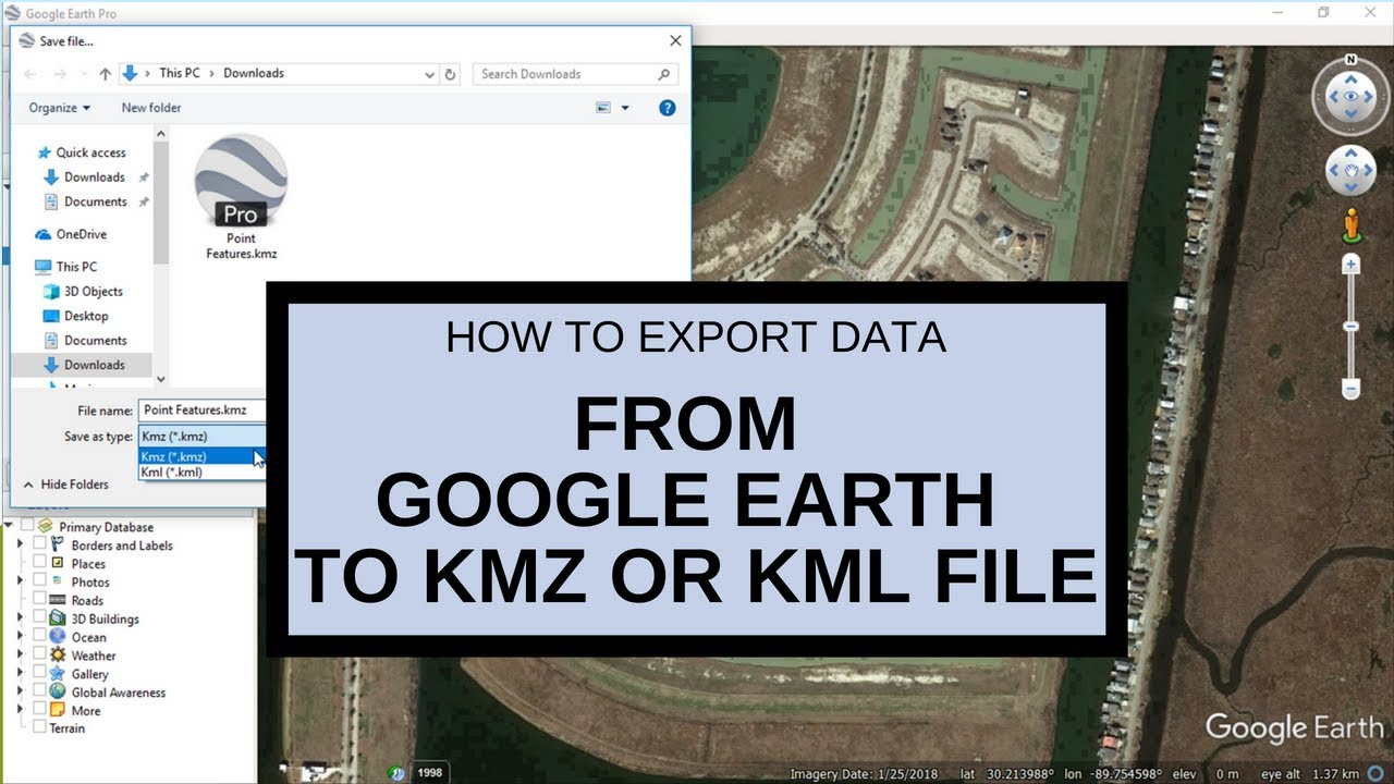 Export data from Google Earth to KMZ or KML file