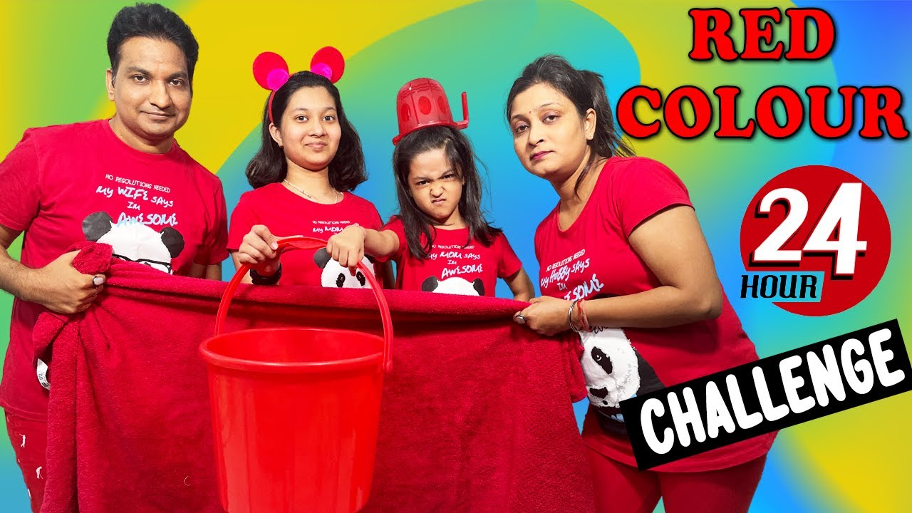 We Used Only Red Things For 24 Hours | Crazy Challenge 🤪| Cute Sisters