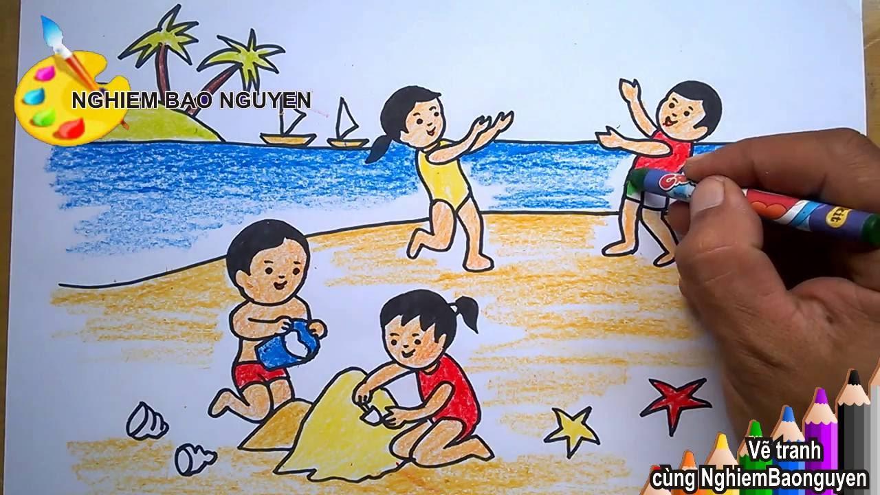 Vẽ tranh bé đi biển/How to Draw Baby seafarers