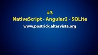 sqlite in a nativescript app with angular 2 tutorial 3